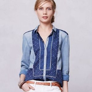 HOLDING HORSES Patchwork Chambray Button Down